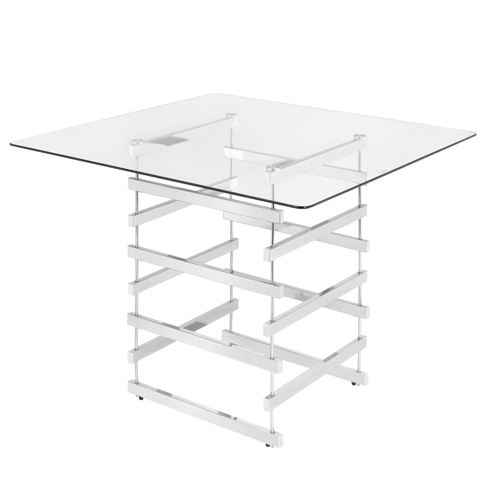 Counter-height Table Clear Chrome