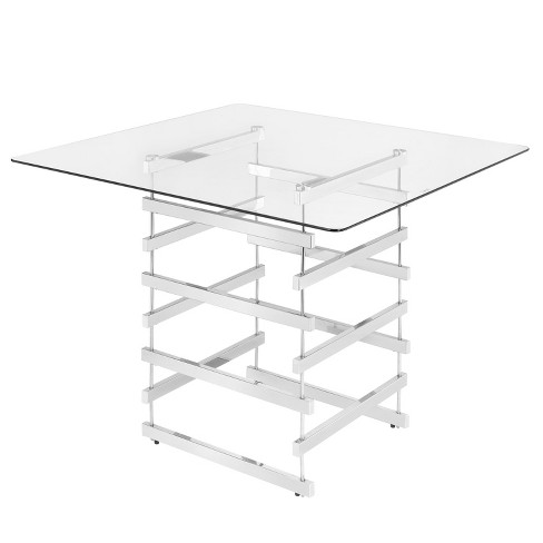 Counter-height Table Clear Chrome - image 1 of 3