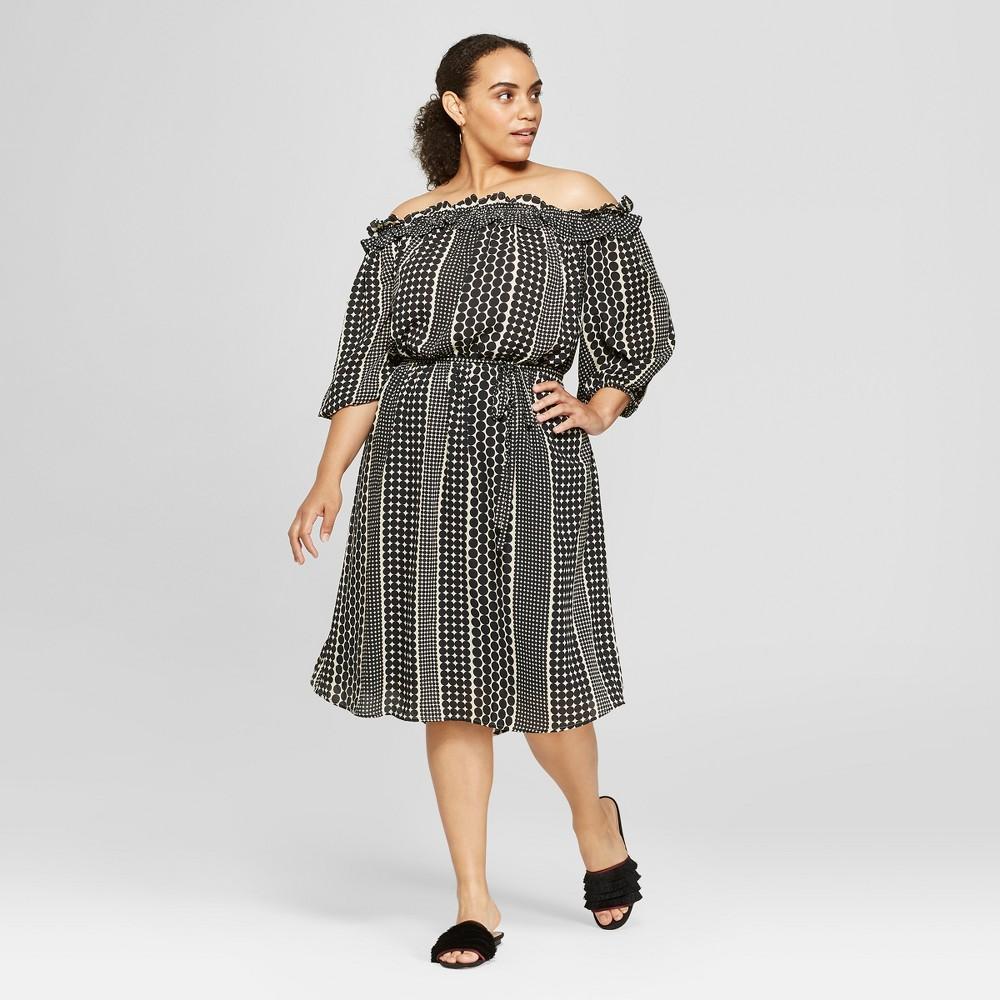 Women's Plus Size Polka Dot Ruffle Bardot Dress - Who What Wear Black 4X, Size: Small was $36.99 now $12.94 (65.0% off)