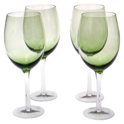 Certified International 18oz 4pk White Wine Glasses Olive Green