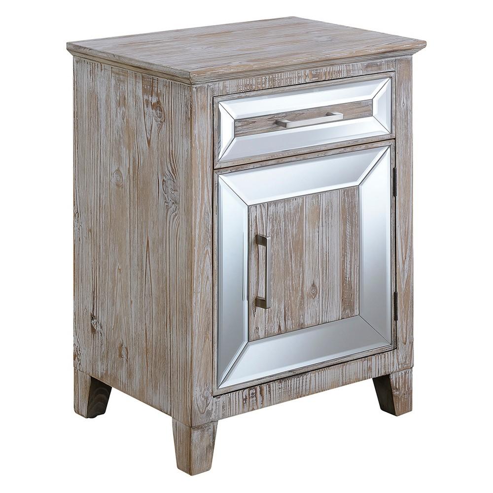 Gold Coast Vineyard Mirrored Cabinet with Drawer Weathered White/Mirror - Johar