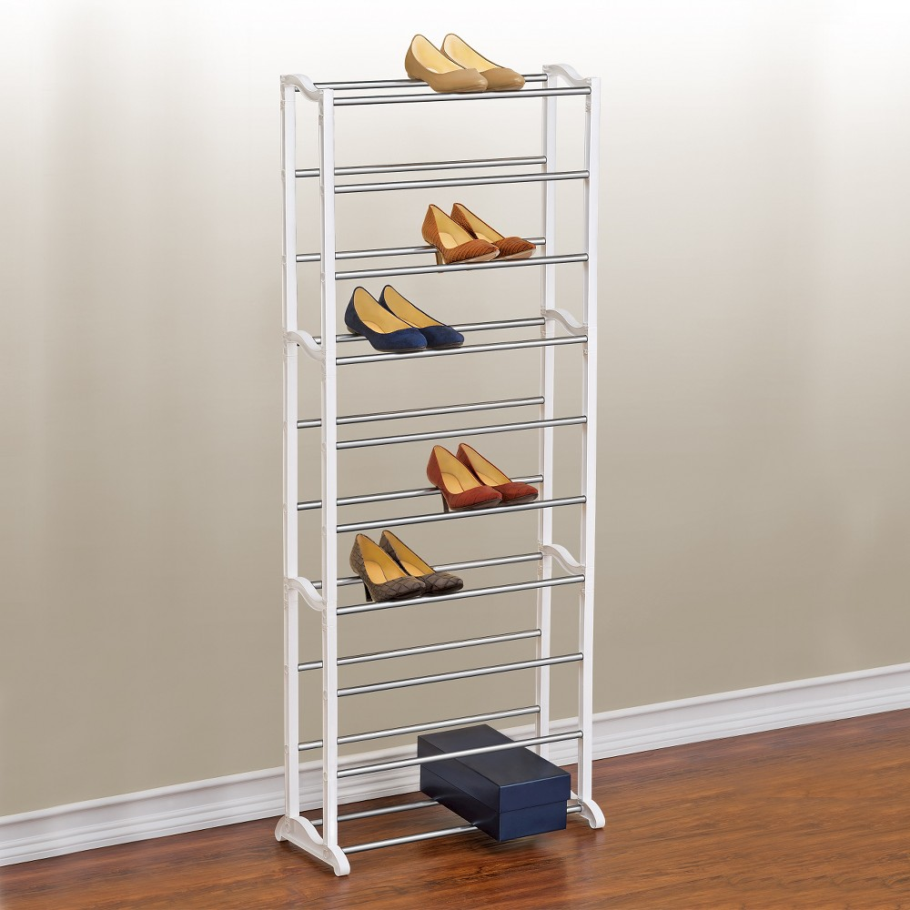 Image of Lynk 30 Pair Shoe Rack - 10 Tier - Shoe Shelf Organizer - White