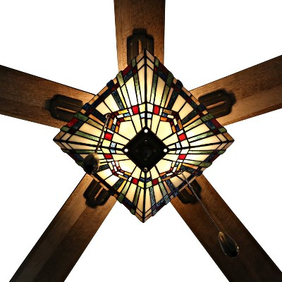 """52"""" 5-Blade LED Glass Orson Craftsman Stained Lighted Ceiling Fan - River of Goods"""