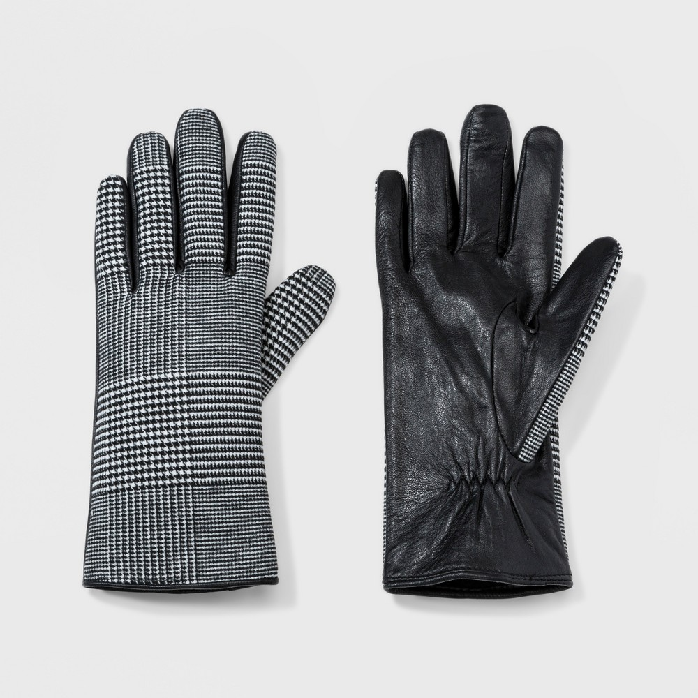 Vintage Style Gloves- Long, Wrist, Evening, Day, Leather, Lace Womens Plaid Leather Gloves with Tech Touch - A New Day Black ML $14.99 AT vintagedancer.com