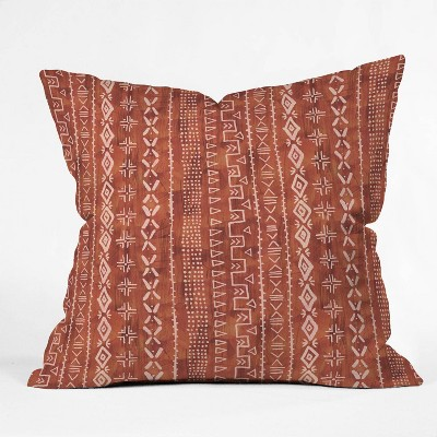 "16""x16"" Schatzi Brown Modern Mudcloth Rust Throw Pillow Red - Deny Designs"