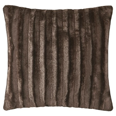 Chocolate York Brushed Solid Stripe Faux Fur Throw Pillow (20 x20 )
