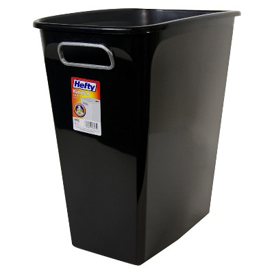 Hefty 8 Gallon Open Waste Can - Black with Silver Handles