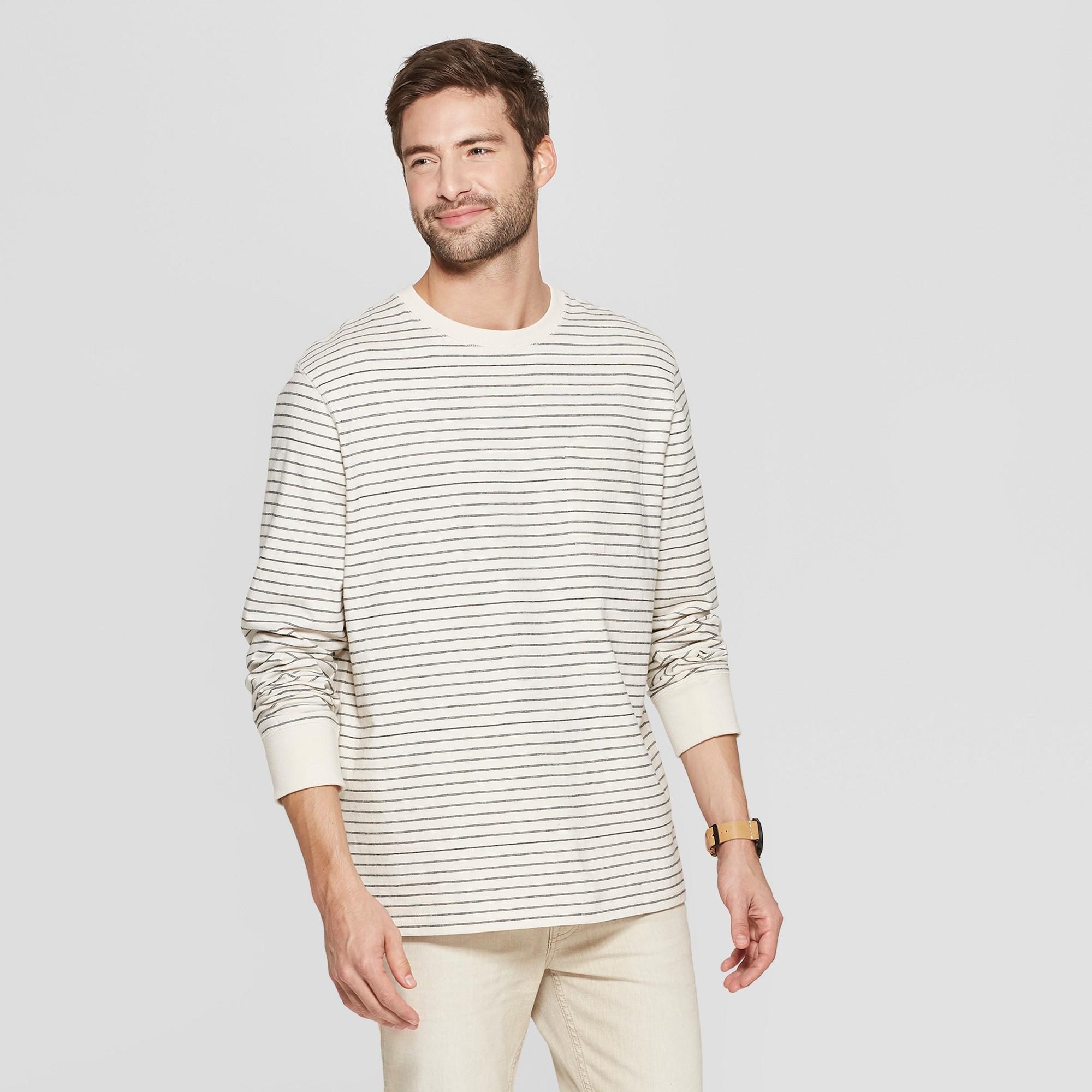 Men's Striped Standard Fit Long Sleeve Garment Dye Pocket T-Shirt - Goodfellow & Co White XL