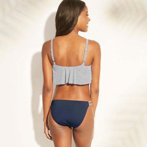 3a3db92f6c Women s Flounce Bralette Bikini Top - Xhilaration™ Navy Stripe D DD Cup    Target