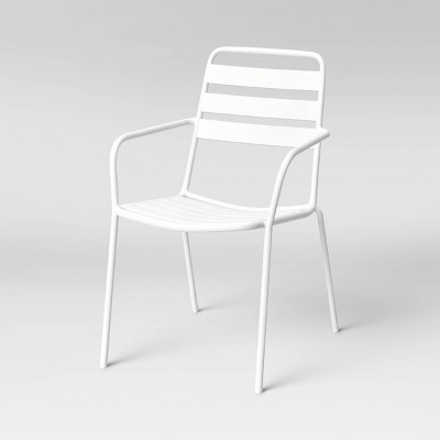 Metal Slat Stacking Patio Chair - White - Room Essentials™
