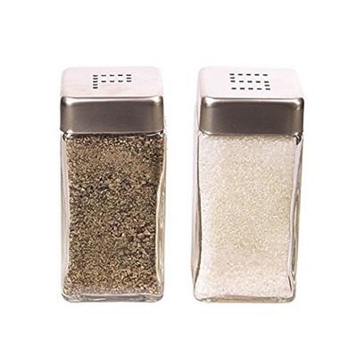 Grant Howard 39130 Modern Square 4 Ounce Glass Salt and Pepper Shaker Set, Clear