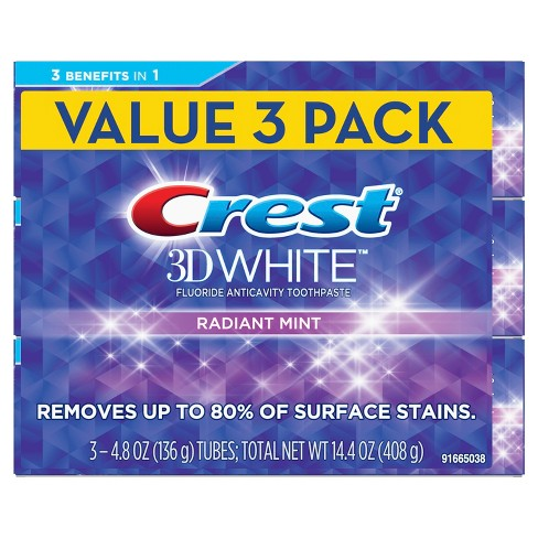 Crest 3D White Whitening Toothpaste Radiant Mint - 14.4oz (Pack of 3) - image 1 of 5