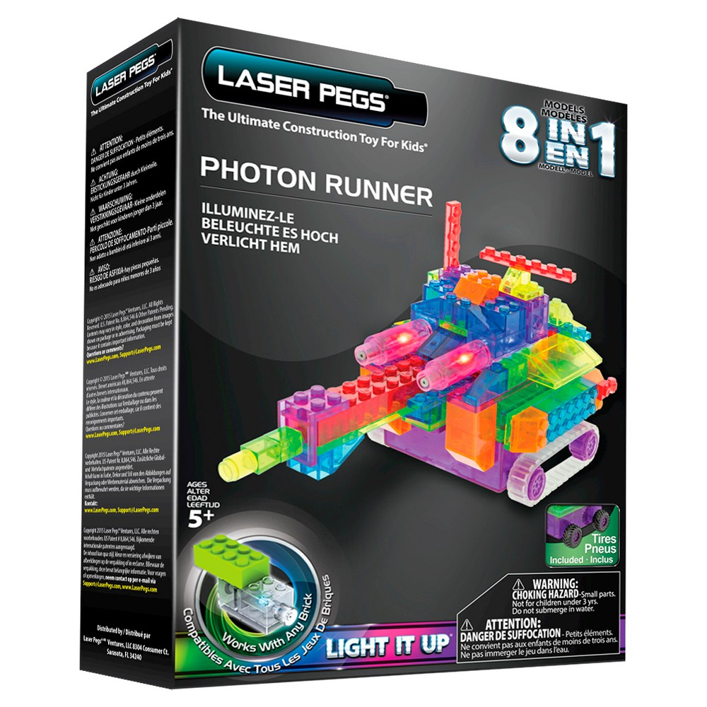 Laser Pegs 8 in 1 Photon Runner Lighted Construction Toy