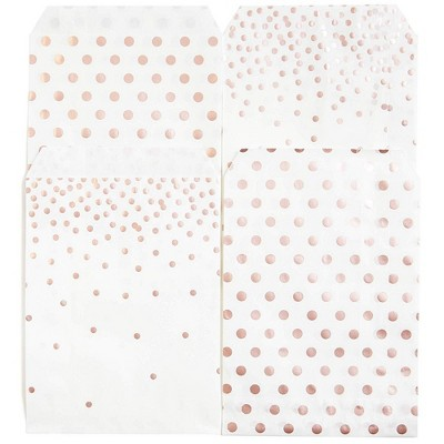 Juvale 100-Pack Rose Gold Foil Dots Paper Party Favor Treat Bags for Cookies, Candy Buffet, 5 X 7.5 inches