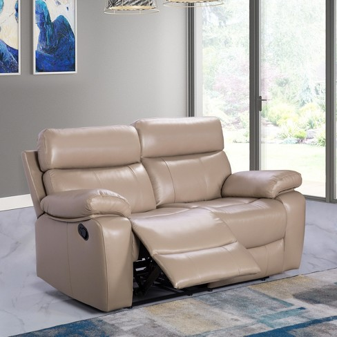Cameron Leather Reclining Loveseat Beige Abbyson Living Target