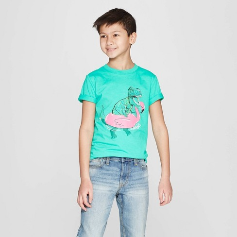 Boys' Short Sleeve Graphic T-Shirt - Cat & Jack™ Green - image 1 of 3