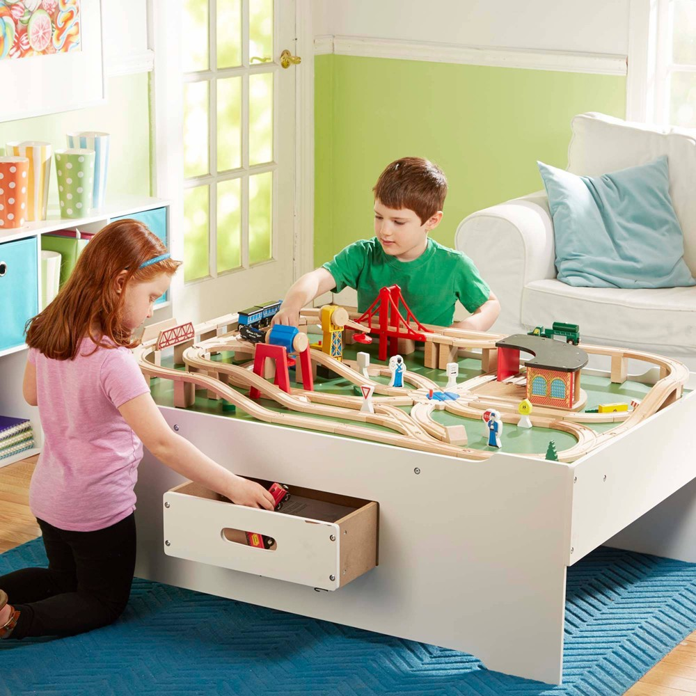 Melissa 38 Doug Deluxe Wooden Multi Activity Play Table For Trains Puzzles Games More