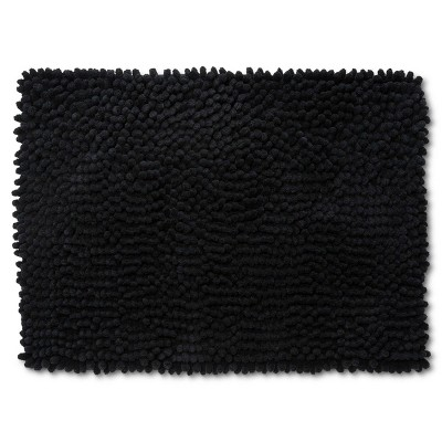 "24""x17"" Chunky Chenille Memory Foam Bath Rug Black - Room Essentials™"