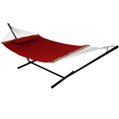 Sunnydaze 2-Person Quilted Double Hammock with Spreader Bars with Freestanding Stand - 400 lb Weight Capacity/12' Stand - Red