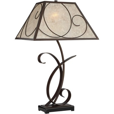 Franklin Iron Works Rustic Farmhouse Table Lamp Scroll Brown Metal Light Mica Tapering Shade for Living Room Bedroom Nightstand