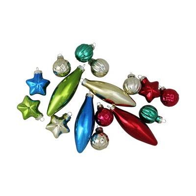 """Northlight 16ct Finial, Ball and Star Shaped Christmas Ornament Set 4"""" - Silver/Red"""