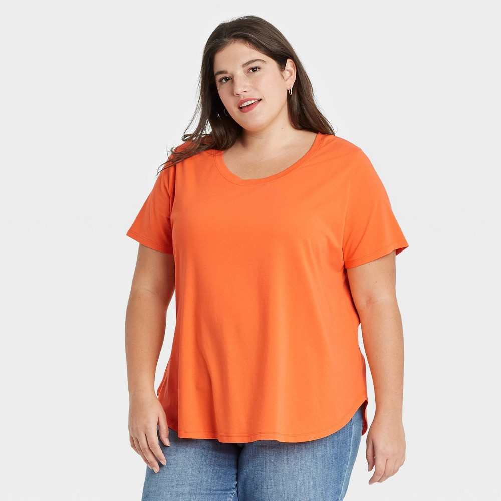 Women 39 S Plus Size Essential Relaxed Scoop Neck T Shirt Ava 38 Viv 8482 Orange 2x