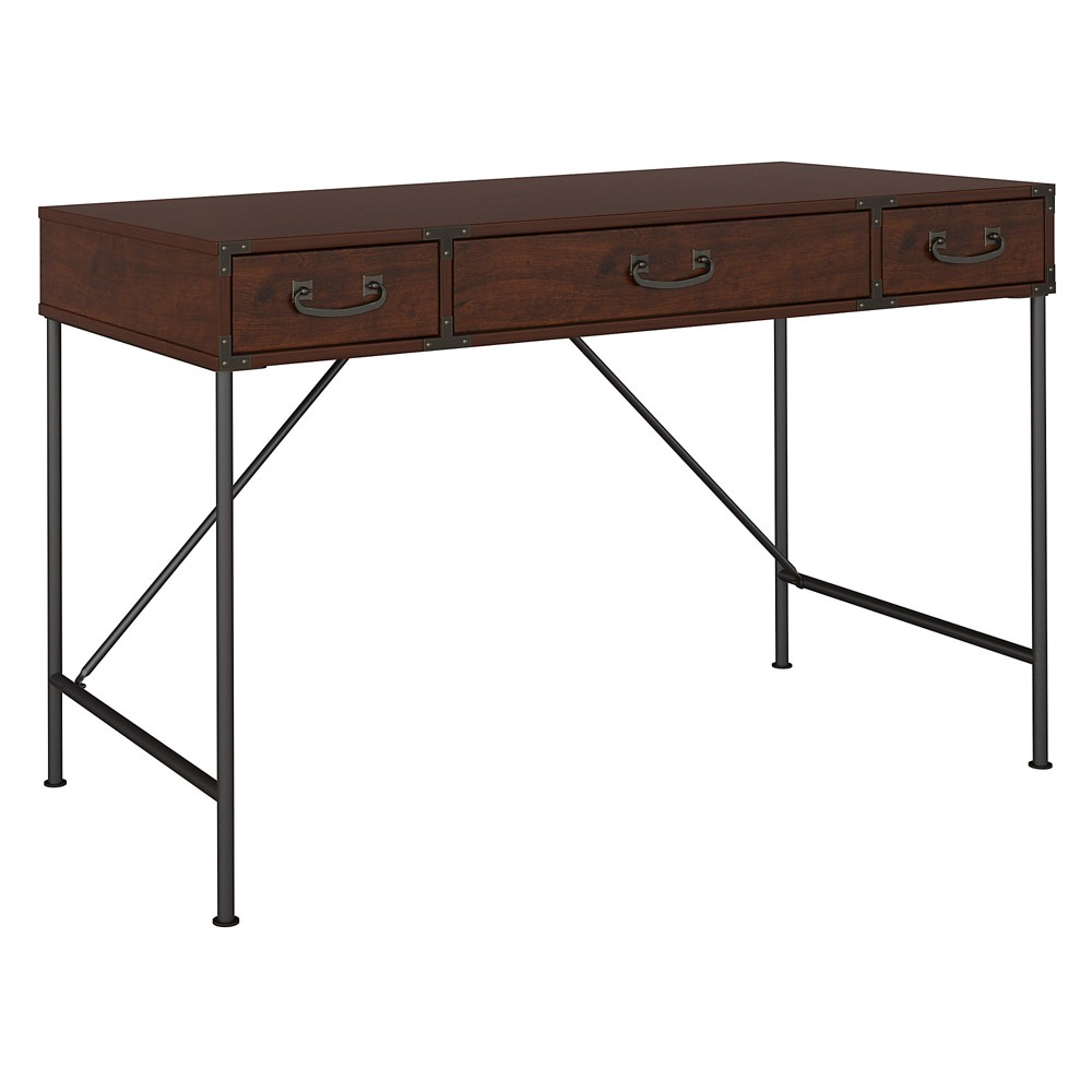 "Image of ""45.12"""" Kathy Ireland Office Ironworks Writing Desk Gold - Bush Furniture"""
