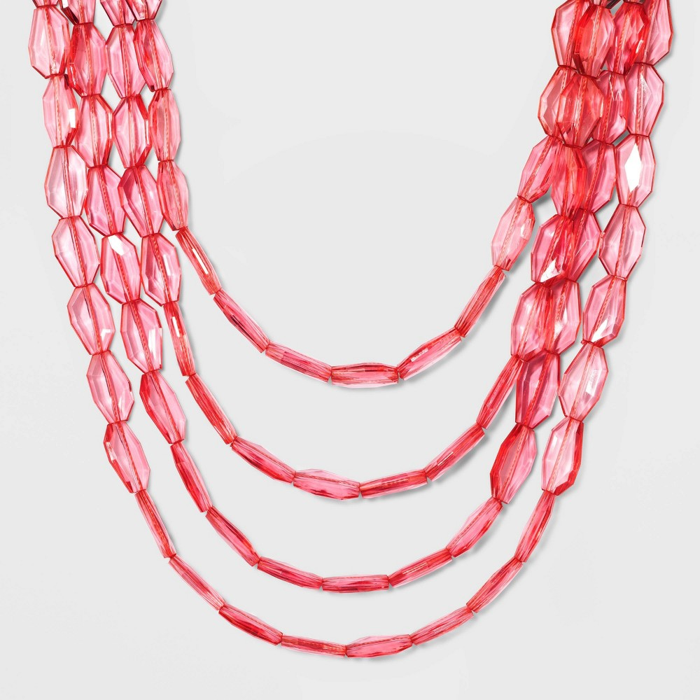 Sugarfix by BaubleBar Clear Acrylic Beaded Statement Necklace - Strawberry Ice, Girl's