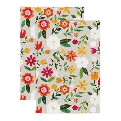 2pk Cotton Designer Retro Floral Kitchen Towels - MU Kitchen