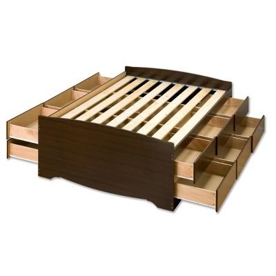12 Drawer Tall Platform Storage Bed   Queen   Prepac