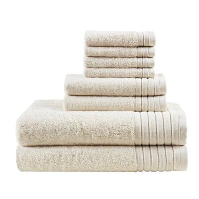 8pc Velvetine Cotton Bath Towel Set Ivory