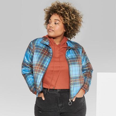 f9e31708f5e Women s Plus Size Plaid Puffer Jackets - Wild Fable™ Blue 3X   Target