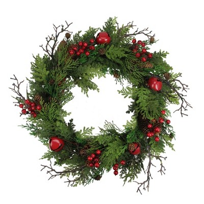"""Northlight 24"""" Unlit Red Jingle Bell, Berry and Pine Cone Artificial Christmas Wreath"""