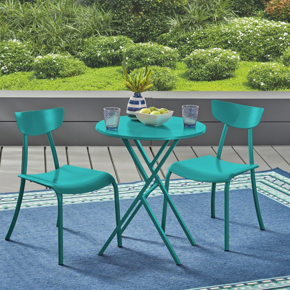 Image of Taro 3pc Patio Bistro Set - Matte Teal - Christopher Knight Home