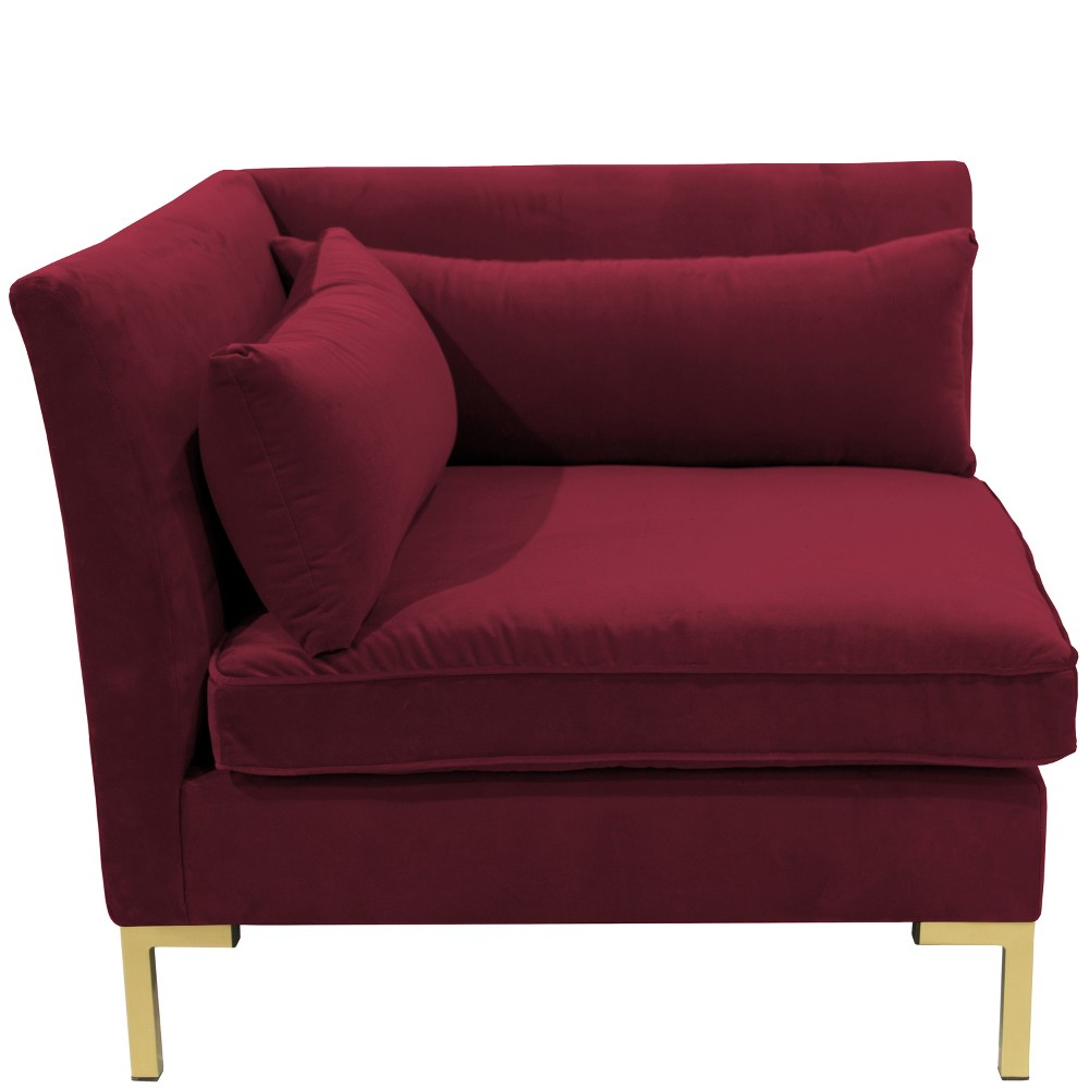 Alexis Corner Chair with Brass Metal Y Legs Dark Berry Velvet - Cloth & Co.
