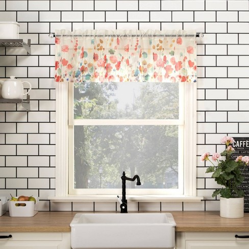 14 x54 rosalind watercolor floral semi sheer rod pocket kitchen curtain valance poppy red no 918