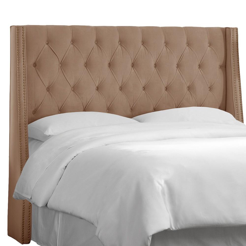 Full Diamond Tufted Nail Button Wingback Headboard Velvet Cocoa - Skyline Furniture