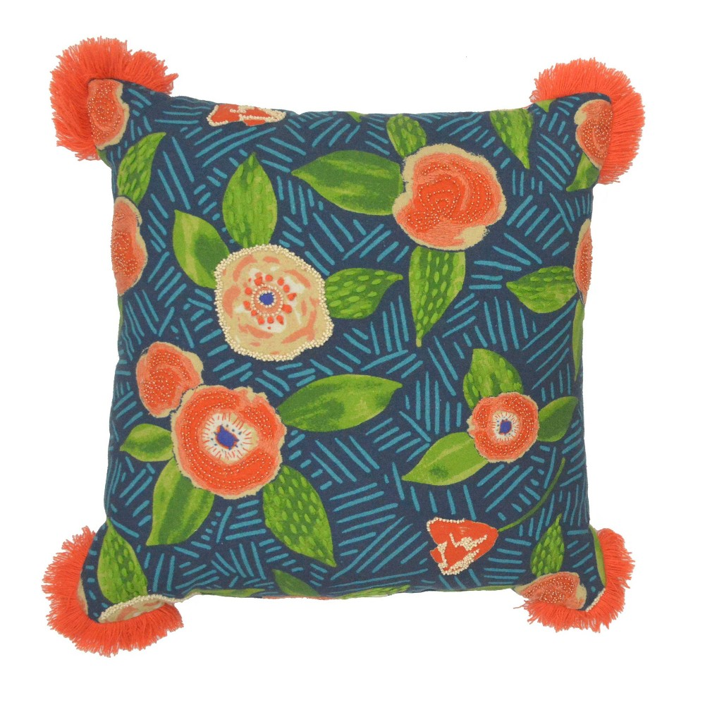 Add a bright finishing touch to any furniture ensemble with the Square Embellished Floral Pillow With Tassels from Opalhouse™. This square accent pillow boasts a bright floral design with orange flowers on a blue base, accented at the corner by orange tassel details for a playful look that\'s sure to bring color to any sofa, chair or loveseat. The exterior is made from soft cotton and contains comfy fill for cozy use. Whether you're updating your living room or bringing extra color to your reading nook, the orange floral pillow is sure to liven it up. This is your house. Where you create spaces as bold as your spirit. Collect objects as inspired as your dreams. Find pieces that remind you of every place you've been. Discover stories to inspire everywhere you have yet to go. This is Opalhouse. Color: MultiColored. Gender: unisex.