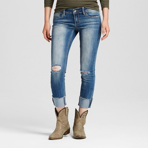 Women's Mid Rise Rolled Cuff Distressed Knee Jeans Dylan 7 - Dollhouse (Juniors') - image 1 of 6