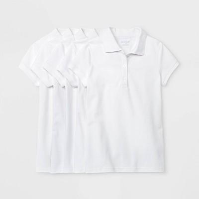 Girls' 5pk Short Sleeve Stretch Pique Uniform Polo Shirt - Cat & Jack™ White