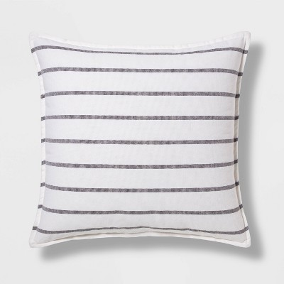 Woven Striped Oversized Square Pillow Gray/White - Threshold™