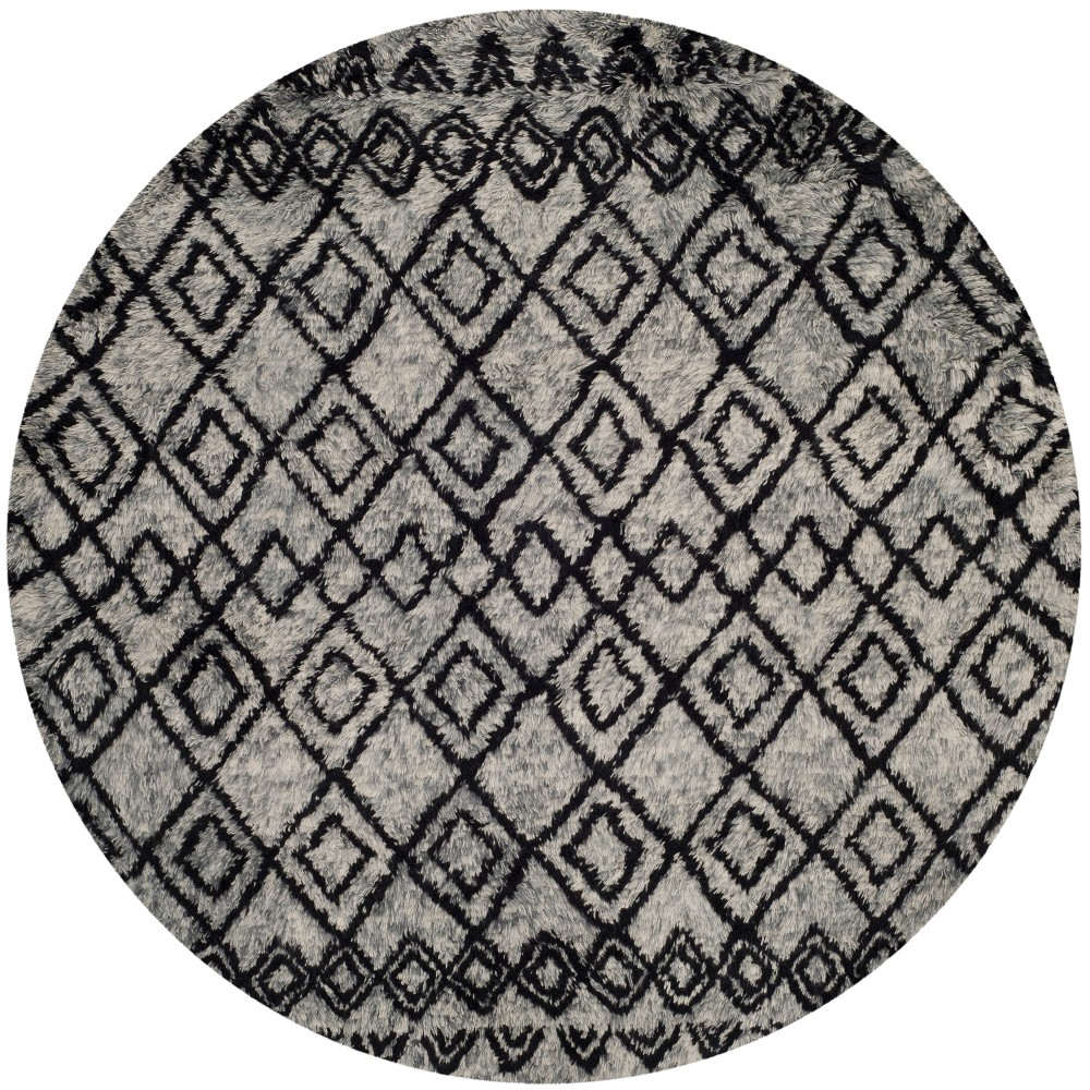 6' Geometric Round Area Rug Gray/Charcoal (Gray/Grey) - Safavieh