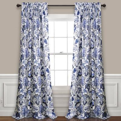 Set of 2 Cynthia Jacobean Room Darkening Window Curtain Panels Blue - Lush Décor