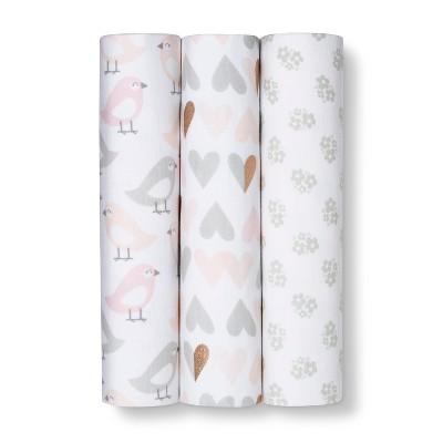 Muslin Baby Blankets Blush 3pk -Cloud Island™ Gray