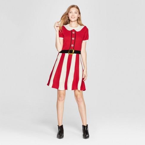 Women S Christmas Candy Cane Dress 33 Degrees Juniors Red Target