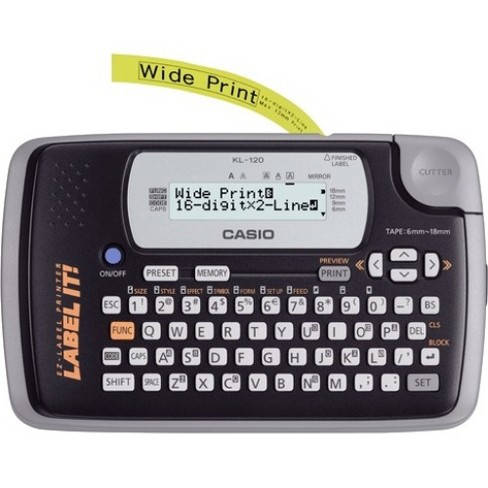 Casio KL-120 Label Maker - 6mm/s - Thermal Transfer - 200 dpi Auto Power OFF - image 1 of 1