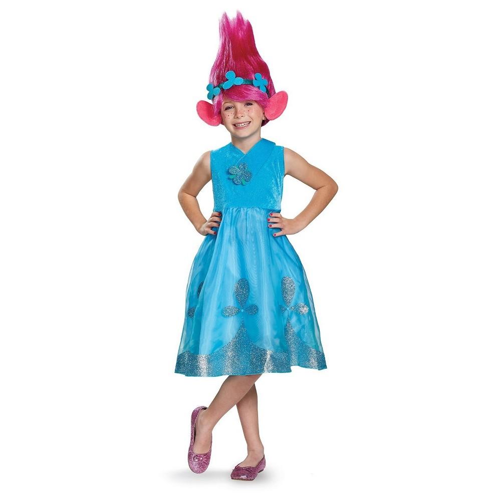 Kids' Trolls- Poppy Deluxe Costume with Wig Medium, Kids Unisex, Multicolored