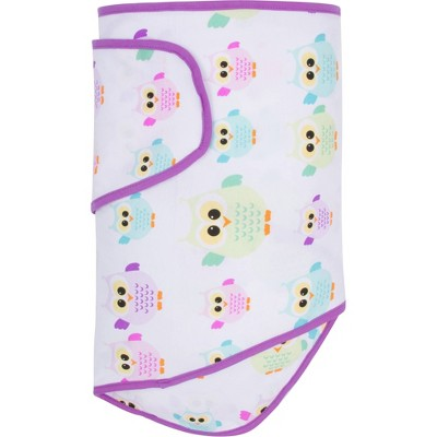 Miracle Blanket Swaddle Wrap - Owls with Purple Trim