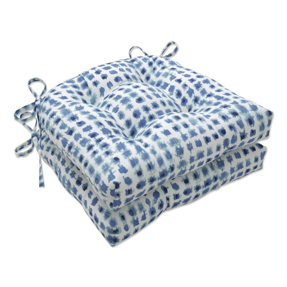 2pk Outdoor Indoor Reversible Chair Pad Set Alauda Porcelain Blue Pillow Perfect