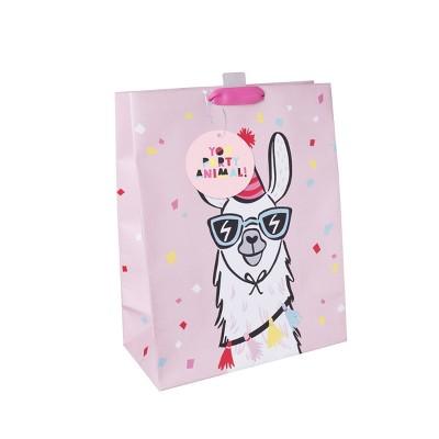 Medium Llama Print Gift Bag Pink - Spritz™